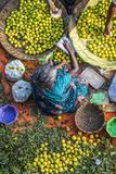 Lemon Seller, K.R. Market, Bangalore (Bengaluru), Karnataka, India Papier Photo par Peter Adams