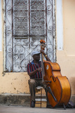 Santiago De Cuba Province  Historical Center  Street Musician Playing Double Bass