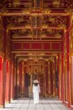 Woman Wearing Ao Dai Dress in Imperial Palace Inside Citadel  Hue  Thua Thien-Hue  Vietnam (Mr)