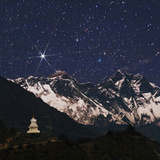 Bright Star Capella over Mount Everest on the Right Is Mount Lhotse a Stupa in the Foreground
