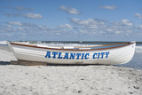 A Rowboat Sits on the Beach in Atlantic City  New Jersey
