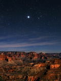 Jupiter over the Grand Canyon at Right  Red-Orange Star Aldebaran  in Constellation Taurus