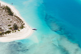 An Aerial View of Boat Pulled Ashore on a Private Island in the Turks and Caicos