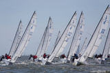 A Fleet of J70 Sailboats During a Race on the Chesapeake Bay Near Annapolis  Maryland