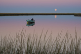 Moonrise at Sunset and a Lone Boat in Salt Pond Bay  Eastham  Cape Cod  Massachusetts