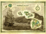 A 1876 Centennial Map of the Hawaiian Islands with Artwork of a Sailing Ship