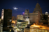Downtown Detroit's Skyscrapers Touch the Night Sky