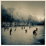 Pond Hockey Pickup Game on the Frozen C&O Canal Near Potomac  Maryland