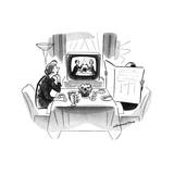 Woman sitting art breakfast table with husband hidden behind newspaper Sh… - New Yorker Cartoon
