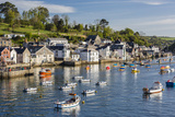 Early Morning Light on Small Boats at Anchor in the Harbour at Fowey  Cornwall  England