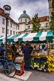 Ljubljana Central Market on a Saturday in Vodnikov Trg  Ljubljana  Slovenia  Europe