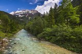 Soca River and Julian Alps in the Soca Valley