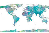 World Map Watercolor Reproduction d'art