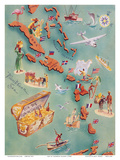 Map of Caribbean Islands - Bahama Islands - US Virgin Islands - Menu Cover Rum Drink List - Don t