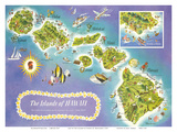 Map of the Islands of Hawaii  USA