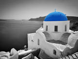 Oia Town on Santorini Island  Greece Black and White Styled with Blue Dome of Traditional Church O