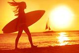 Surfing Surfer Woman Babe Beach Fun at Sunset Girl Walking in Sunshine in Warm Evening Sun Holding