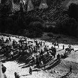 A Tourist Group Arriving on Mules to around the Burried City of Kaymakli  Turkey