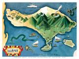 Map of Bali, Indonesia - Tanáh (Tanah) Lot Balinese Temple Reproduction d'art par Miguel Covarrubias