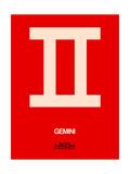 Gemini Zodiac Sign White on Red