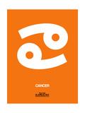 Cancer Zodiac Sign White on Orange
