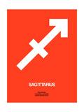 Sagittarius Zodiac Sign White on Orange