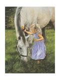 Grace et Le Gris (Poster, Nature, Fillette avec cheval, Mauve) Reproduction d'art par Leslie Harrison