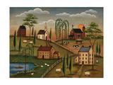 Village de jour Giclée premium par Kim Lewis