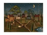 Village de nuit Giclée premium par Kim Lewis