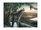 Loup hurlant à la lune Reproduction d'art par Kevin Daniel