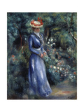 Woman in a Blue Dress Standing in the Garden at Saint-Cloud  1899