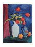 Red Tulips in White Vase  1912