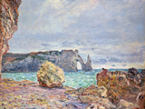 Etretat  Beach and Falaise D'Aval  1884