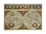 Map in Two Hemispheres with Portrait of Pope Innocent XI  1676