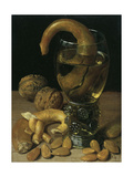Still-Life with Wine Glass  Pretzel  Nuts and Almonds  1637
