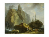 Landscape in the High Alps with Resting Mountaineers and the Painter