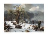 Winterliche Wildschweinjagd