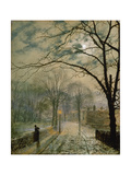 Moonlit Street in Autumn on the Isle of Wight  1878