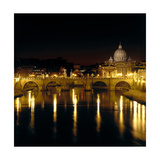 Night View of the Sant'Angelo Bridge and the Dome of the Basilica of Saint Peter in Rome