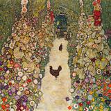 Garden Path with Chickens, 1916, Burned at Schloss Immendorf in 1945 Reproduction d'art par Gustav Klimt