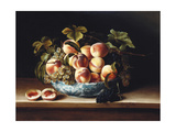 Peaches and Grapes in a Blue and White Chinese Porcelain Bowl  1634