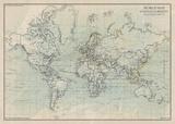 Ocean Current Map I Reproduction d'art par The Vintage Collection