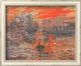 Impression, soleil levant (bleu) Art texturé encadré par Claude Monet