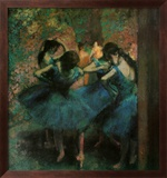 Dancers in Blue Art texturé encadré par Edgar Degas