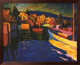 Autumn Landscapes with Boats Art texturé encadré par Wassily Kandinsky