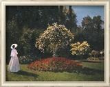 Woman in a Garden Art texturé encadré par Pierre-Auguste Renoir