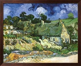 Thatched Cottages at Cordeville Art texturé encadré par Vincent Van Gogh
