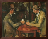 The Card Players Art texturé encadré par Paul Cézanne
