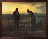 The Evening Prayer (L'Angélus), c.1859 Art texturé encadré par Jean-François Millet