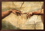 Creation of Adam, c.1510 Art texturé encadré par Michelangelo Buonarroti